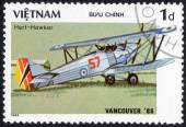 Stamp printed in Vietnam ,History of aeronautics — Stok fotoğraf