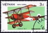Stamp printed in Vietnam ,History of aeronautics — Stock Photo