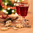 Two glasses of mulled wine with gingerbread and spices — Stock Photo #57171301