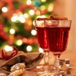 Two glasses of mulled wine with gingerbread and spices — Stock Photo #57171385