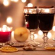 Two glasses of mulled wine with gingerbread and spices — Stock Photo #57171817