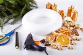 Things to manufacture Christmas wreaths — Stock Photo