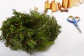 Unfinished Christmas wreath — Stock Photo