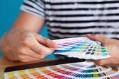 Graphic Designer Choosing a Color — Stock Photo