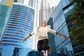 Latina business woman jumping joy happy office smile — Foto Stock