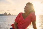 Portrait young woman smile happy sea beauty — Stock Photo