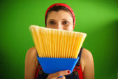 Portrait Of Happy Woman Doing Chores Holding Broom — Stock Photo
