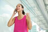Young Woman On The Phone Smiling For Joy — Stock Photo
