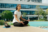 Business Woman Doing Yoga Lotus Position Outside Office Building — Stock Photo