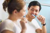 Couple With Toothbrush Man And Woman Washing Teeth Together — Stock Photo