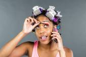 Black Model Applying Makeup — Stock Photo