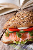 School Lunch: sandwich with salmon close up vertical  — Stock Photo