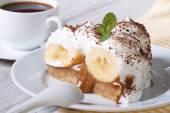 Piece of banana cake and coffee close-up horizontal — Stock Photo