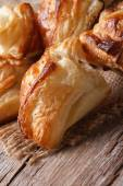 Pies of puff pastry close up vertical  — Stock Photo