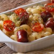 Pasta baked with cheese, tomatoes and sausages horizontal — Stock Photo #52648973