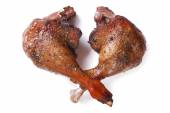 Two fried duck legs isolated on white close up horizontal — Stock Photo