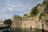 Medieval fortress surrounded by a moat in Kotor, — Stock Photo