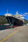 """Beautiful ship """"Minerva"""" arrived in the port of Kotor, Montenegr — Stock Photo"""