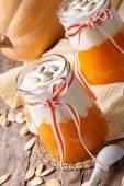 Pumpkin puree with yogurt and seeds closeup — Stock Photo