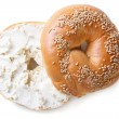 Bagel with cream cheese isolated on white background — Stock Photo #60855649