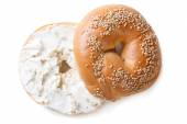 Bagel with cream cheese isolated on white background — Stock Photo