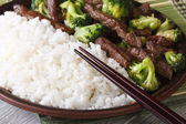 Asian beef with broccoli and rice macro. Horizontal — Stock Photo