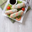 Spring roll with shrimp and sauce top view vertical — Stock Photo #62619713