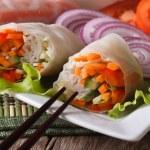 Vietnamese vegetarian vegetable spring rolls macro. Horizontal — Stock Photo #62725931