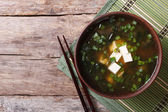 Japanese miso soup on the table. top view of a horizontal — Stock Photo