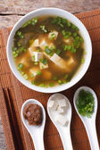Japanese miso soup and ingredients. top view vertical  — Stock Photo
