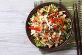 Salad with tofu and vegetables closeup horizontal top view — Stock Photo