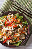 Japanese tofu salad with fresh vegetables vertical top view — Stock Photo
