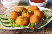 Potato croquettes on a white plate close-up. horizontal — Stock Photo