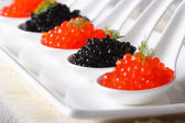 Red and black caviar in spoon close-up. Horizontal — Stock Photo