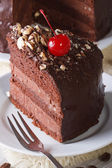 Cut a piece of dark chocolate cake with cherry vertical — Stock Photo