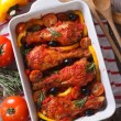 Chicken legs baked in tomato sauce vertical top view — Stock Photo #65362047
