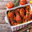 Chicken legs baked in tomato sauce horizontal top view — Stock Photo #65362049