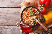 Minestrone soup and ingredients. horizontal top view — Stock Photo