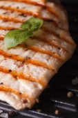 Chicken breast with basil on the grill macro. vertical — Stock Photo