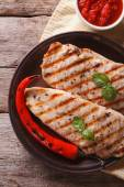 Grilled chicken fillet with chili and sauce. vertical top view — Stock Photo