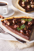 Chocolate tart with hazelnut and coffee close-up. Vertical — Stock Photo