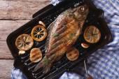 Grilled carp with lemon in a pan , horizontal top view closeup — Stock Photo