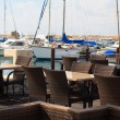 The cozy cafe in the Mediterranean port. Horizontal — Stock Photo #72409739