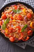 Italian food: pasta with vegetables closeup. vertical top view — Stock Photo
