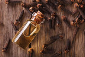 Oil of cloves close-up on the table. horizontal top view — Stock Photo