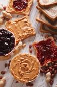 Sandwiches with peanut butter and jelly vertical — Stock Photo