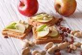 Sandwiches with peanut butter and an apple horizontal — Stock Photo