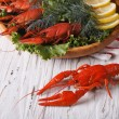 Crayfish boiled with herbs on a table close-up. horizontal — Stock Photo #75275575