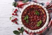 Clafoutis with cherry on the table. horizontal top view — Stock Photo