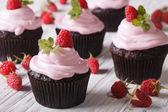 Chocolate cupcakes with cream and fresh raspberries closeup. hor — Stock Photo